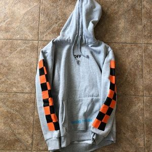 Off White Grey Graphic Hoodie